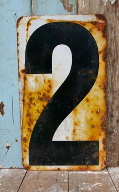 Industrial Metal Sign Number 1 or 2 by WhatsNewOnTheMantel on Etsy Industrial Metal, Vintage Industrial, Industrial Design, Abc Letra, Peeling Paint, Rusty Metal, Old Signs, Number Two, Letters And Numbers