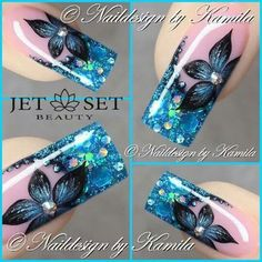 Blue black flower - Coffin nails are fun to experiment with. Take a look at these 69 impressive designs you will definitely want to play around with. Acrylic Nail Art, Glitter Nail Art, Square Nail Designs, Nail Art Designs, Sparkly Nails, Pretty Nail Art, French Tip Nails, Beautiful Nail Designs, Stylish Nails