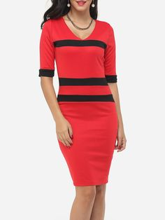 Color Block Striped Captivating Deep V Neck Bodycon-dress
