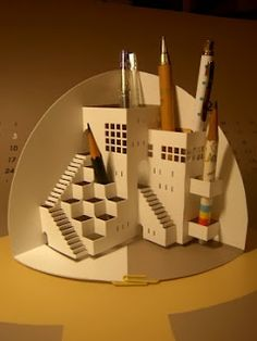 origamic architecture pencil holder