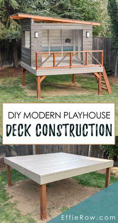 Modern Playhouse, Backyard Playhouse, Backyard Patio, Playhouse For Kids, Simple Playhouse, Outdoor Playhouses, Playhouse Ideas, Backyard Buildings, Modern Backyard