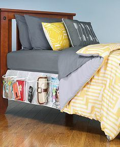 Out of sight, easy to find. Two adjustable vinyl organizers slip under the bedskirt to provide 8 clear pockets on each side of the bed & instantly increase storage space. This innovative system makes