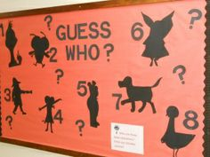 "Mystery Book Characters bulletin board silhouettes [image only] Pinner says: ""I think it would be amazing to add a mini-book report element to this. Who is it? Where did their story happen? What problem did this mystery character have? How was it solved?"""