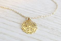 Gold Necklace  Gold Circle Necklace  Dainty gold by HLcollection, $26.00