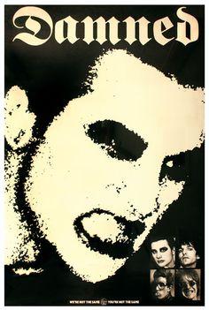 "Designer: Barney Bubbles. Poster, 60"" x 40"". The Damned, Stiff Records, 1977"