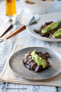 Beer Marinated Flank Steak with Avocado Cilantro Cream Sauce recipe from The Beeroness