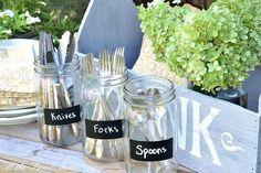 a diy mason jar dining caddy, chalkboard paint, crafts, mason jars, The mason jars are perfect for utensils
