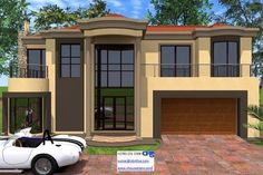 Overall Dimensions- x mBathrooms- 2 Car GarageArea- Square meters Round House Plans, Tuscan House Plans, Best House Plans, House Floor Plans, Double Storey House Plans, My Dream Home, Dream Homes, 2 Storey House Design, Building Costs