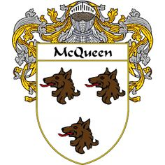 McQueen Coat of Arms   http://irishcoatofarms.org/ has a wide variety of products with your surname with your coat of arms/family crest, flags and national symbols from England, Ireland, Scotland and Wale