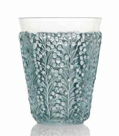 SAINT-TROPEZ VASE, NO. 10-915  designed 1937, clear, frosted and blue stained stencilled R. LALIQUE (polishing to top rim) 18 cm. high