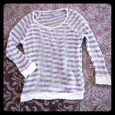 C&C CALIFORNIA Crochet Top size Medium In perfect condition, super cute web/crochet top by C&C California, size medium. Grey and cream stripes. C&C California Tops