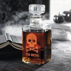 Personalized Skull and Crossbones Decanter