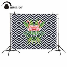 Allenjoy Abstract stylish flamingo tropical leaves photo backdrop decorations fund photo booth party fond studio photo