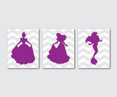 Kid's Room Decor - Nursery Art Trio - Wall Art - Set of 3 Disney Princess Silhouettes on Chevron - 8 x 10 prints