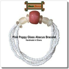 Pink Poppy Glass Abacus Bracelet  - These beads are handmade from recycled glass using ancient traditions and has a clear elastic band.