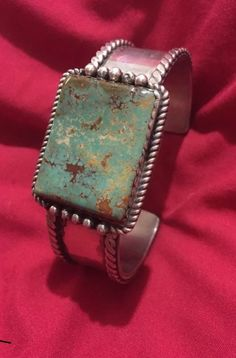 Navajo cuff Hachita turquoise bracelet signed HH by Herbert Harvey.