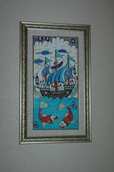 Ceramic tiles, framed (kalyon) x Tile Art, Mosaic Art, Turkish Art, Knitting For Kids, Needlepoint, Stoneware, Graphic Art, Glass Art, Cross Stitch