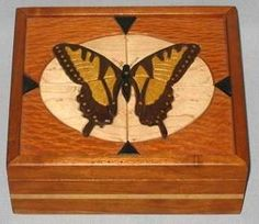 Keepsake box with intarsia butterfly lid