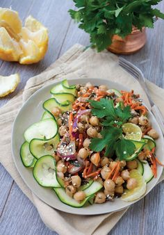 Vegan Zucchini Noodle Salad with Moroccan Chickpeas from Nourishing Noodles - aren't zoodles great?!