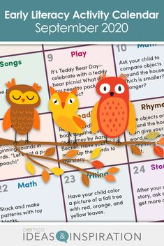 Early Literacy Activity Calendar: Sept. 2020  #EarlyLiteracy Free Activities, Literacy Activities, Teddy Bear Day, Before Kindergarten, September Calendar, Classroom Games, Library Lessons, Calendar Ideas, Early Literacy