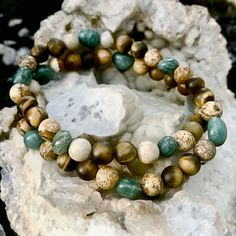 Matte Tigers Eye, Picture Jasper and Cuprite Healing Crystal Double Wrap Bracelet Handmade by Soul Sisters Designs