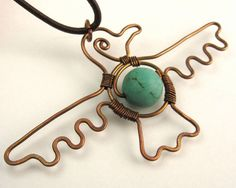 Turquoise Copper Eagle Necklace by BuddhaNature on Etsy, $50.00