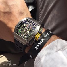 Live Wrist Shot of The newly released Richard Mille RM 11-03 Titanium.