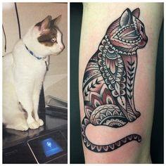 Karina Figueroa; Amillion Tattoo, Austin TX USA   geometric cat blackwork