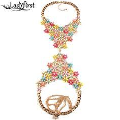 2016 New Exclusive Custom Handmade Statement Vintage Maxi Long Body Flower Necklaces & Pendants Wholesale Collar Necklace 2753