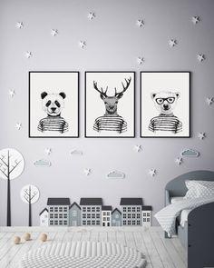 Baby Boy Room Wall Art, Set of 3 Prints Nursery, Black and White Prints, Hipster Wall Art