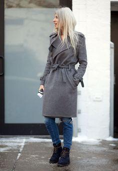 denim pants grey over coat street style