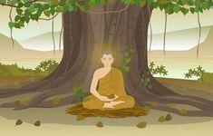 Buddha enlightenment under bodhi tree pr.