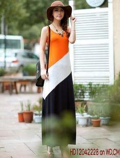 Stylish Color Stripe Splicing Cotton Maxi Dress Orange    $8.11 on WD.CM (Tax-free)