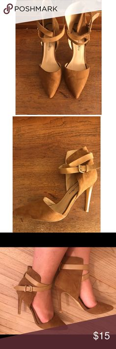 Caramel ankle strapped heels Caramel color, has a strap that wraps around ankle. Has a wood like design on heel. Great for a night out or any special occasion!! Used, good condition!! Shoes Heels