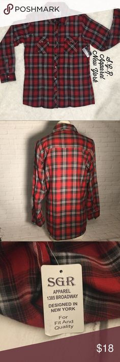 """Women's red flannel button down top NWT medium SGR Apparel New York women's red flannel button down top NEW with TAGS.  Bust 19"""" length 27"""" approx. laying flat.  Buy with confidence I am a Posh Ambassador, top rated seller, mentor and fast shipper.  Don't forget to bundle and save.  Thank you. SGR New York Tops Button Down Shirts"""