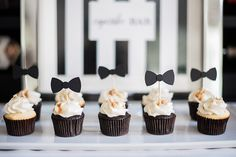 Black And White Desserts Black And White Baby Shower Cupcakes Black White And Gold Dessert Table Baby Shower Cupcakes For Boy, Cupcakes For Boys, Baby Shower Desserts, Boy Baby Shower Themes, Baby Shower Cakes, Baby Boy Shower, Bow Tie Cupcakes, Gold Cupcakes, White Dessert Tables