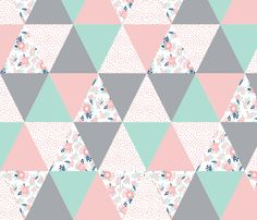 cheater quilt triangle quilts navy mint and pink floral baby blanket cute nursery baby fabric fabric by charlottewinter on Spoonflower - custom fabric