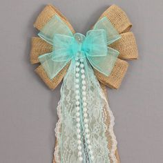 Aqua Sheer Burlap Lace Pearl Wedding Pew Bow