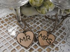 Set Of Two Personalized Wooden Hearts MR & MRS by hanscreations, $6.00
