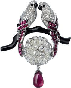 February is for lovebirds! Vintage Cartier diamond, pink ruby and onyx brooch.