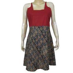 Summer Dresses for Women Casual Wear Cotton Kalamkari Block Print Red