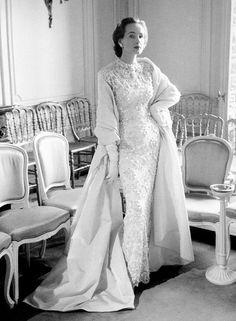 """Marie-Thérèse presents Dior's evening ensemble called """"Belle Hélène"""", Autumn/Winter Collection Vivante Line 1953,"""