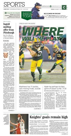 News design: Clay Matthews illustration for Nov. 11 Green Bay sports cover.