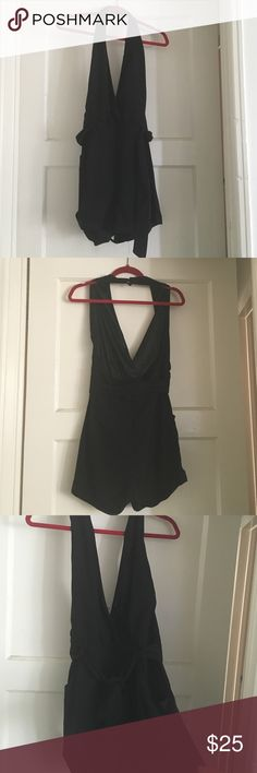 All BlK Halter neck belted romper NWT size M Halter neck shorts can wear with some wedges or heels or flats. Summer essential. Tags still on size M. Never worn. Button needs to be sewn on. ANGL Other