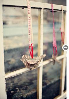 Newspaper birds - such a cute idea!
