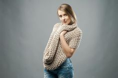 thick big knit cowl in beige, latte color extra large