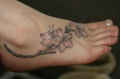 cherry blossom tattoo designs on foot