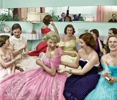 1950 house party (colorised historical photo)
