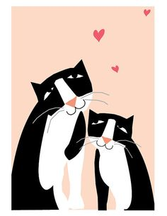 greeting cards tuxedo cats love card collection by LizzyClara