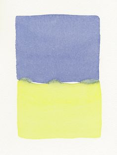 a simple blue and yellow meld small original watercolor. $60.00, via Etsy.